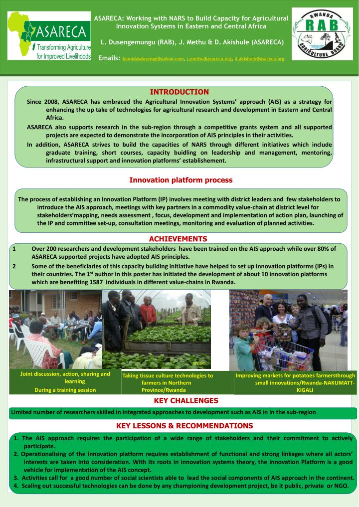 ASARECA: Working with NARS to Build Capacity for Agricultural Innovation Systems in Eastern and Cent...