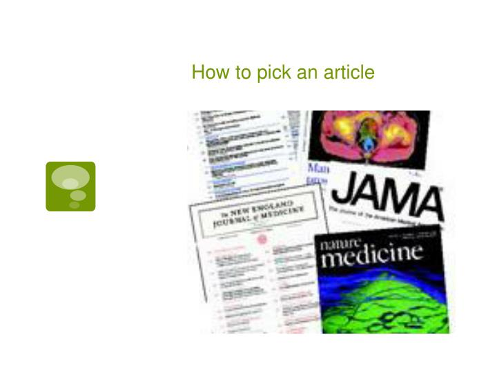 How to pick an article