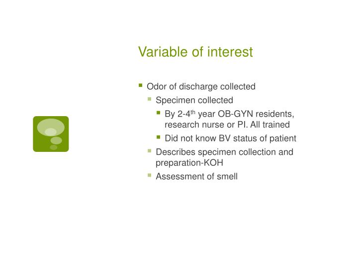 Variable of interest