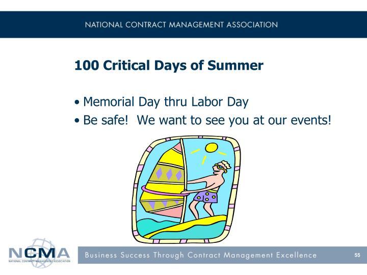 100 Critical Days of Summer