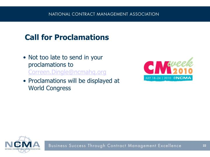 Call for Proclamations