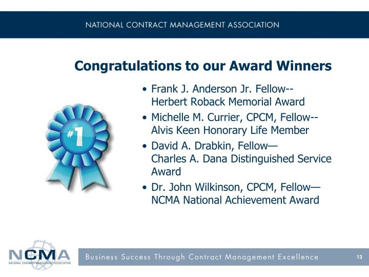 Congratulations to our Award Winners