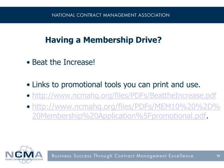 Having a Membership Drive?