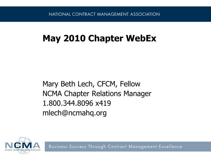 May 2010 chapter webex