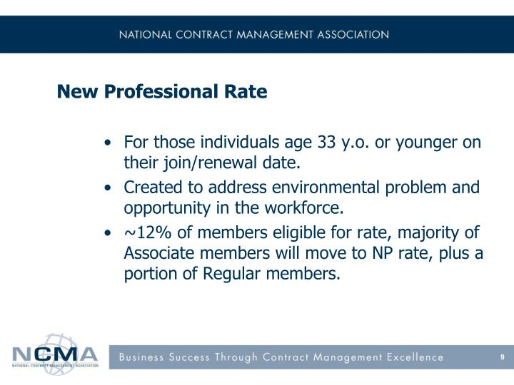 New Professional Rate