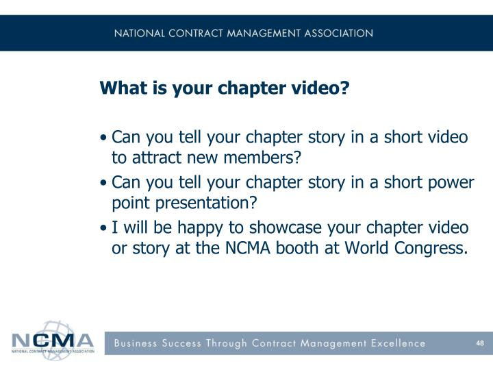 What is your chapter video?