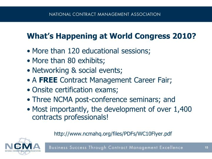 What's Happening at World Congress 2010?