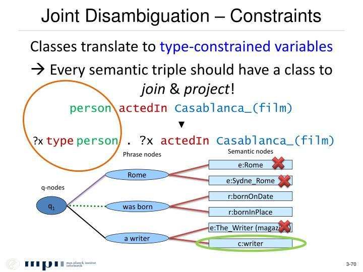 Joint Disambiguation – Constraints