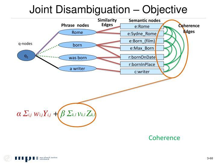Joint Disambiguation – Objective
