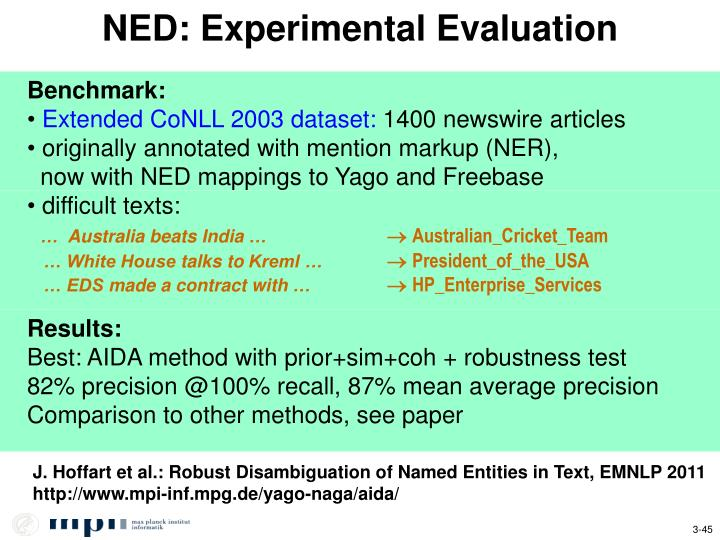 NED: Experimental Evaluation