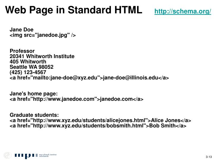 Web Page in Standard HTML