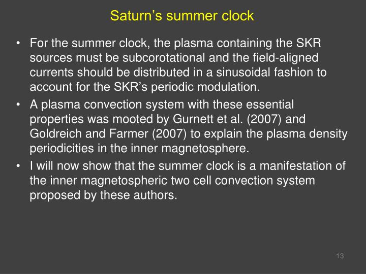Saturn's summer clock
