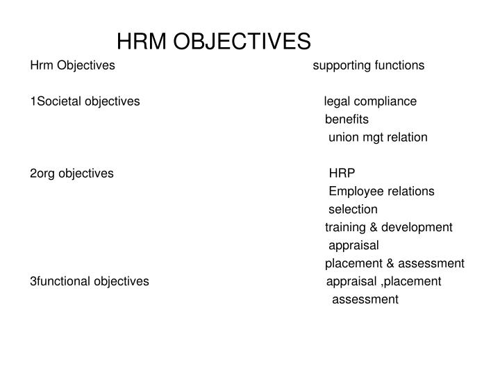 PPT - HRM OBJECTIVES PowerPoint Presentation - ID:5479166