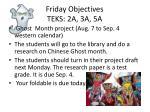 friday objectives teks 2a 3a 5a