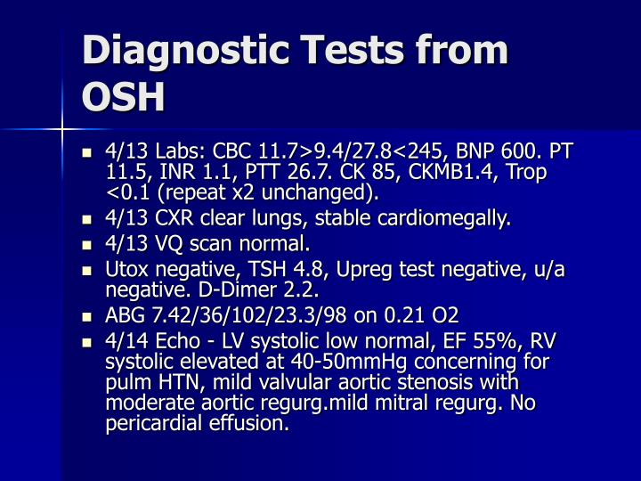 Diagnostic Tests from OSH