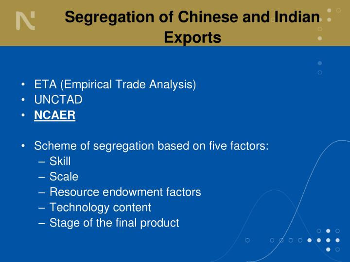 Segregation of Chinese and Indian Exports