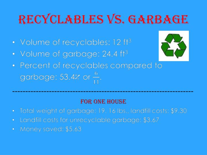 Recyclables vs. Garbage