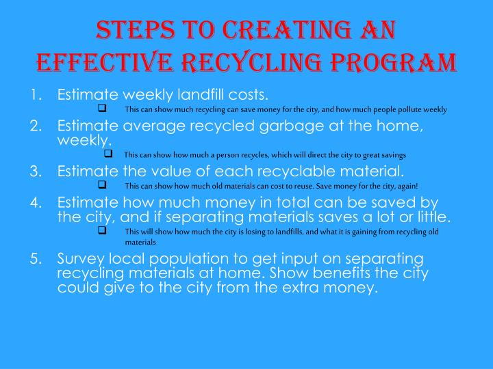 Steps to creating an effective recycling program
