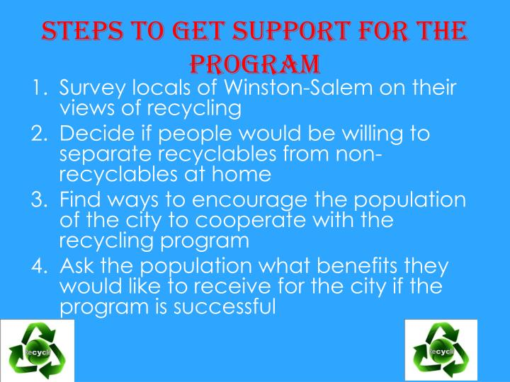 Steps to get support for the program