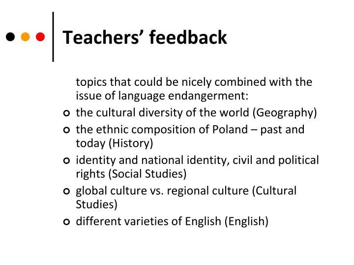 Teachers' feedback