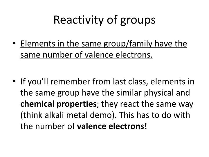 Reactivity of groups