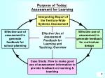 purpose of today assessment for learning