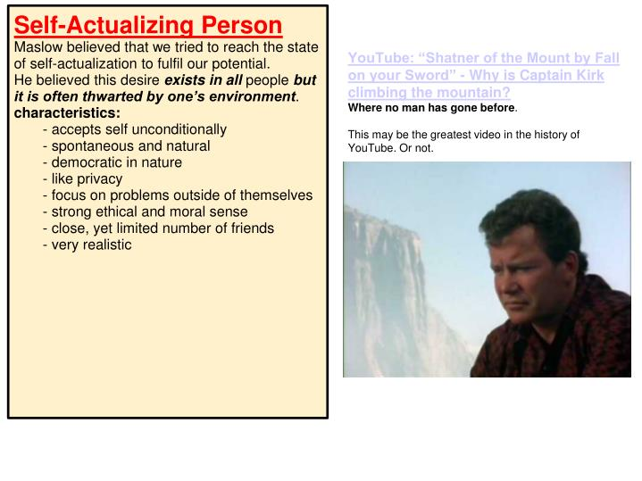 """YouTube: """"Shatner of the Mount by Fall on your Sword"""" - Why is Captain Kirk climbing the mountain?"""