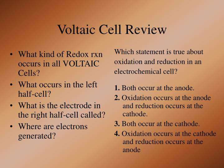 Voltaic cell review