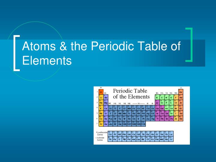 atoms the periodic table of elements n.