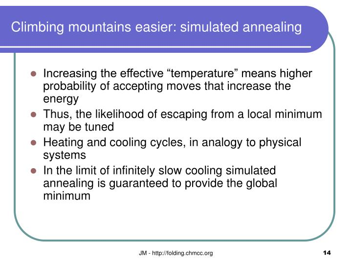 Climbing mountains easier: simulated annealing