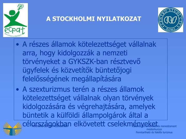 A STOCKHOLMI NYILATKOZAT