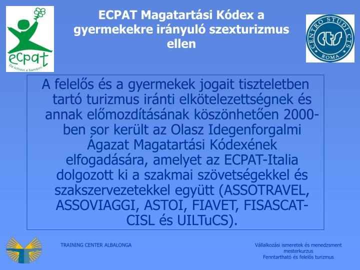 ECPAT Magatartási Kódex a gyermekekre irányuló szexturizmus ellen