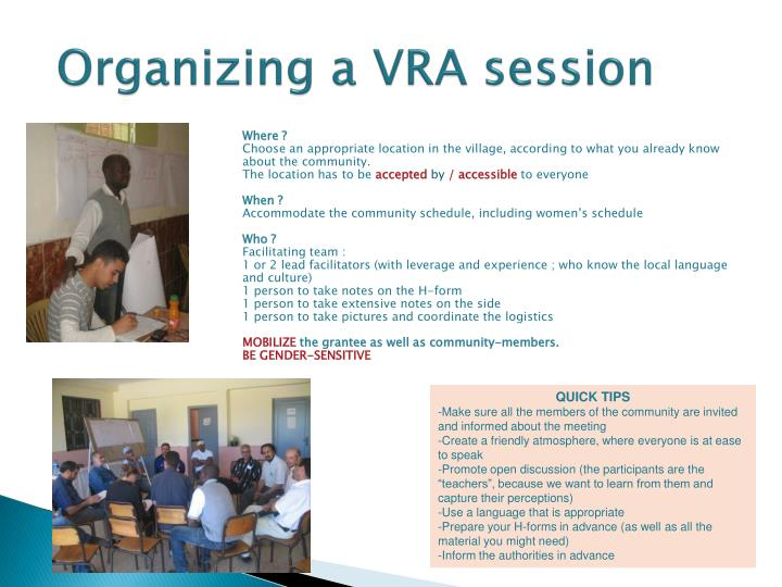 Organizing a VRA session