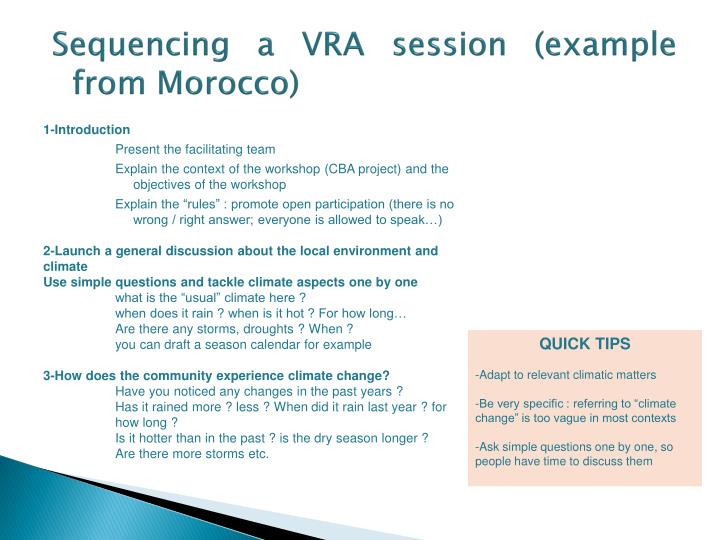 Sequencing a VRA session (example from Morocco)