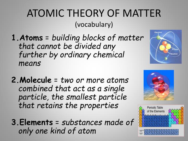 ATOMIC THEORY OF MATTER
