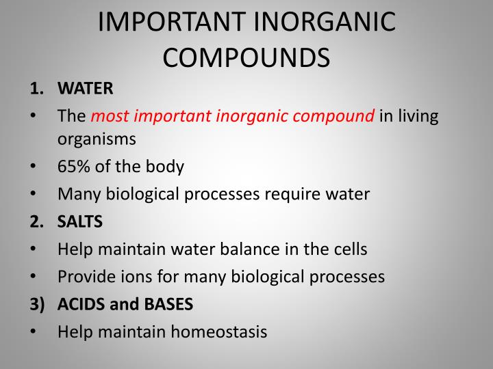 IMPORTANT INORGANIC COMPOUNDS