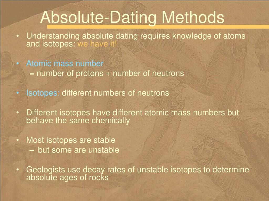 radiometrisk dating absolut alder hvem er dating mmabatho montsho