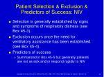 patient selection exclusion predictors of success niv