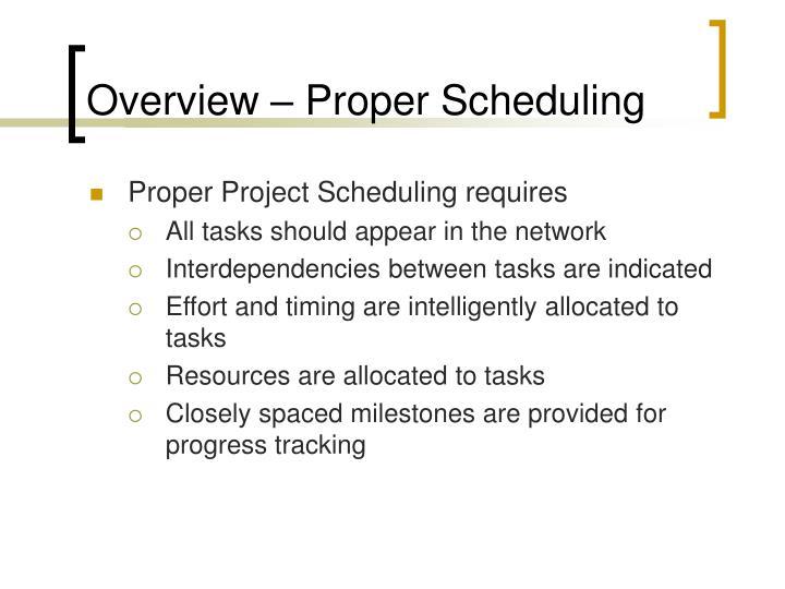 Overview – Proper Scheduling