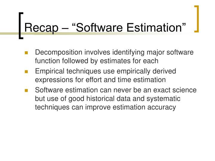 """Recap – """"Software Estimation"""""""