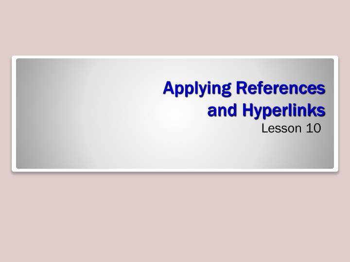 applying references and hyperlinks n.