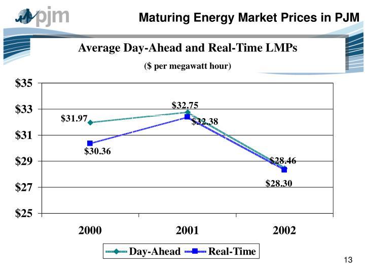 Maturing Energy Market Prices in PJM