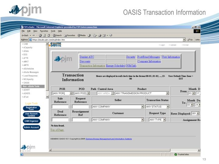 OASIS Transaction Information