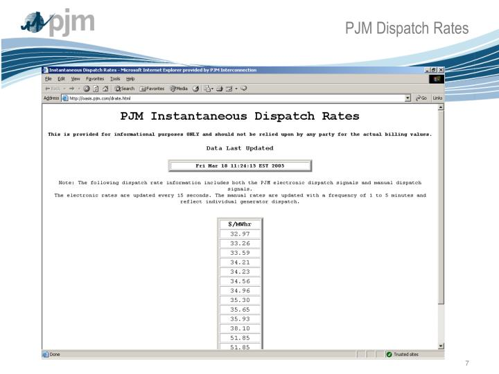 PJM Dispatch Rates