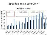 speedup in a 4 core cmp
