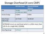 storage overhead 4 core cmp