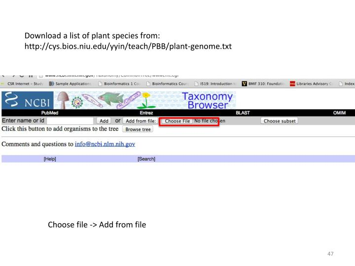 Download a list of plant species from: