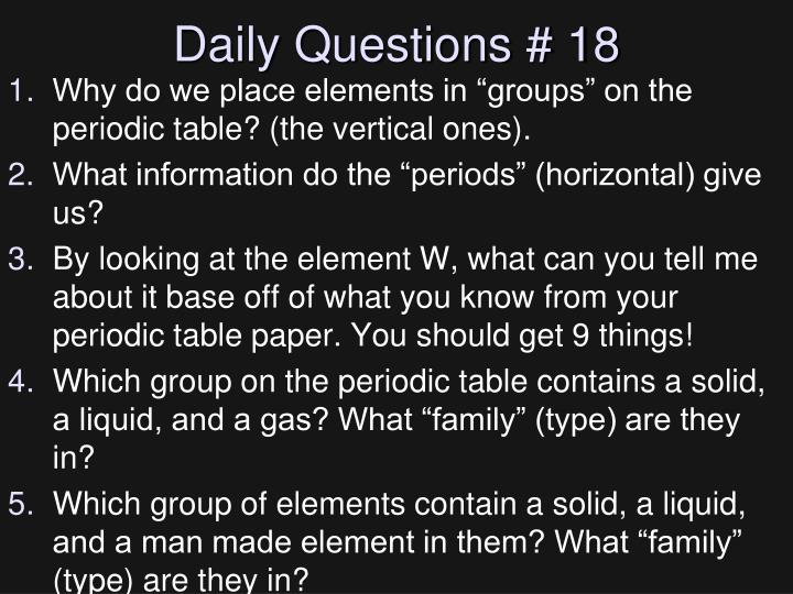 Daily Questions # 18