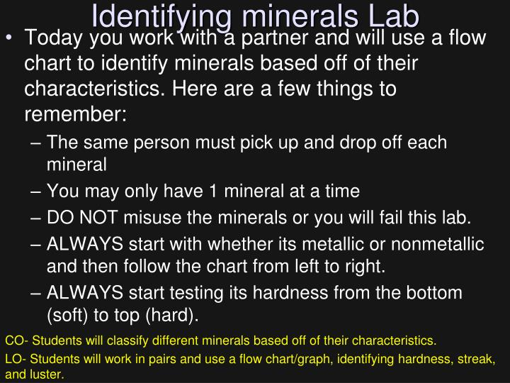 Identifying minerals Lab