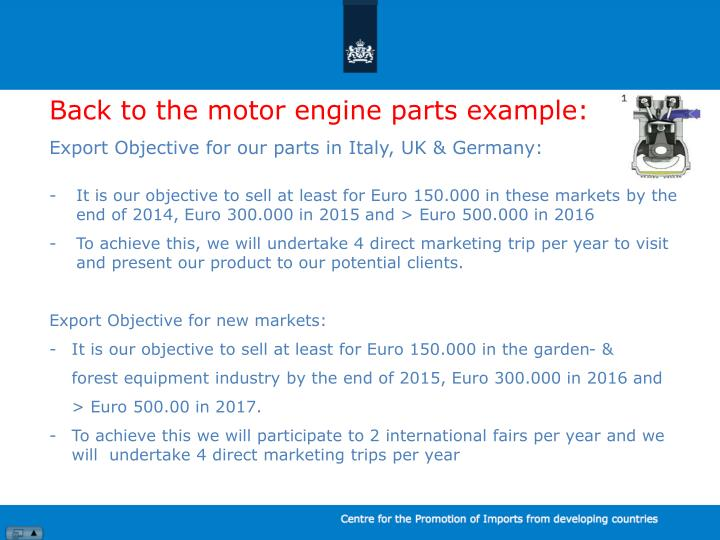 Back to the motor engine parts example: